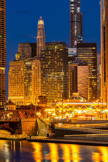 Chicago downtown night sunset