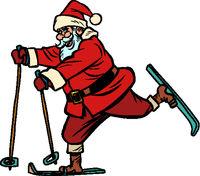 Santa Claus goes skiing. Christmas and New year