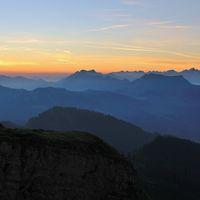 Early morning in the Swiss Alps. Mountain ranges at sunrise, View from Mount Niederhorn. Switzerland