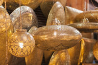 Background of oriental lampshades in a souk.