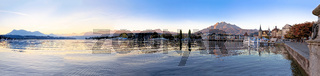 Colorful lake Luzern and town waterfront panoramic view