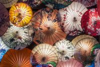 Multi colored chinese umbrellas illuminated at night