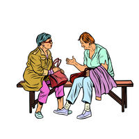 two elderly women sitting on a bench