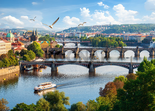 Row of bridges in Prague