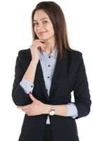 Smiling business woman thinking