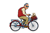 an old man with a gift, riding a Bicycle