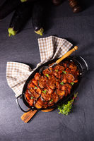 arni me melitzanes - stewed lamb with eggplant