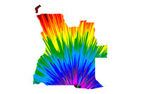 Angola - map is designed rainbow abstract colorful pattern, Republic of Angola map made of color explosion,