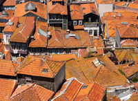 View over the red roofs of homes from the tower of Cathedral in Porto