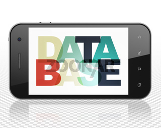 Programming concept: Smartphone with Database on  display
