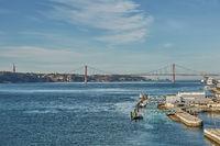 The 25 April bridge (Ponte 25 de Abril) is a steel suspension bridge located in Lisbon, Portugal, cr