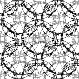 Barbed Wire Circle Seamless Pattern. Stylized Prison Concept. Symbol of Not Freedom. Metal Frame Circle.