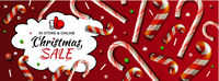 Christmas Sale horizontal banner, vector template with candy cane patterns for online holiday shopping.