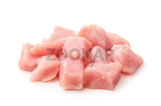 Raw chicken fillet chunks