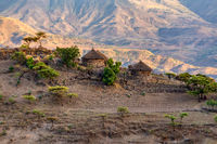 mountain landscape with houses, Ethiopia