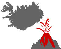 Karte von Island mit Vulkan - Map of Iceland with volcano