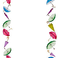 Watercolor seamless pattern of colorful umbrellas.