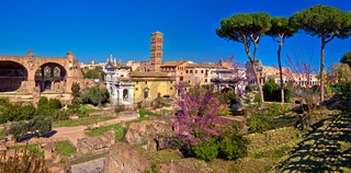 Scenic springtime panoramic view over the ruins of the Roman Forum in Rome