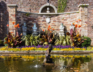 Powerscourt Gardens, pond with fountain, Ireland