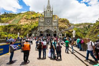 Sanctuary of Las Lajas front view Ipiales Colombia
