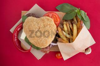 Heart shaped hamburger