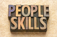 people skills word abstract in wood type