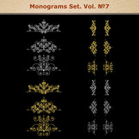 Set of page decoration elements or monograms. Can be used for designing books, cards, menus, advertisments, tattoo etc.