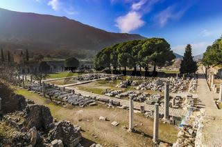 Stone ruins lay on the ground at Ephesus