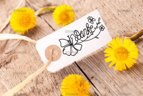Label, Dandelion, Calligraphy Danke Means Thank You