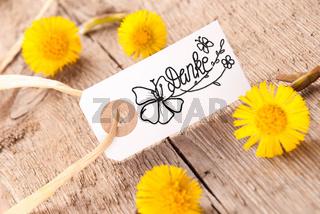 Label, Dandelion, Calligraphy Danke Means Thank You