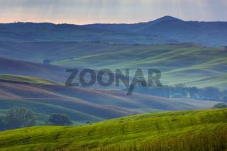 Tuscany foggy morning hill landscape