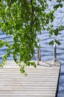 Wooden walkway in lake