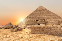 The evening view on the Pyramid of Khafre in Egypt