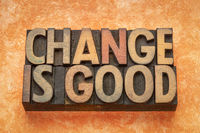 change is good word abstract in wood type