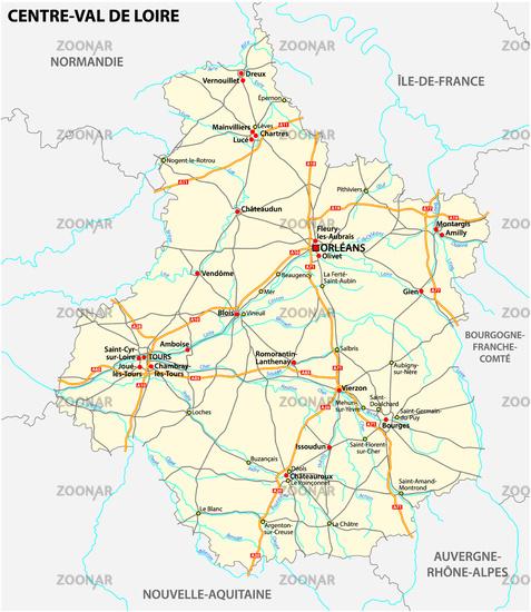 road map of the region Centre Val de Loire, France