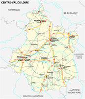 road map of the region Centre Val de Loire