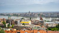 Budapest Parliament Building with view of Danube River in Hungary