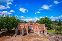 Tivoli - Villa Adriana cultural Rome tour- archaeological landmark in Italy aerial view of the Three Exedras building