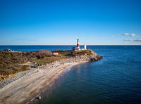 Montauk Lighthouse and beach aerial shot