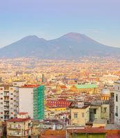 Skyline Naples twilight Vesuvius Italy