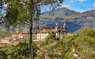 Ancient historical catholic church and buildings in the city of Ouro Preto
