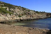 beautiful beach with turquoise sea water, Cala Virgili, Majorca, Spain
