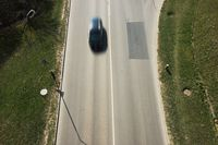 Overhead view on highway top view drone