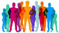 Silhouetten von Menschen als Team Konzept