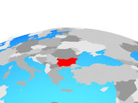 Map of Bulgaria on globe