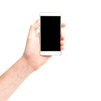 Hand holding smartphone with black screen