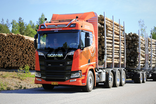 Orange Next Generation Scania R Logging Truck