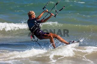 Tricks of professional kitesurfing athletes