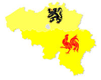 vector map of Belgium with the three regions Flemish, Wallonia and the capital Brussels in flag shap