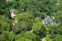 Bird's-eye view of Chalet Biester and Relogio as seen from the Sintra Mountains. Sintra. Portugal